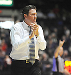"Lipscomb head coach Scott Sanderson yells encouragement in the first half at the CM. ""Tad"" Smith Coliseum in Oxford, Miss. on Friday, November 23, 2012. (AP Photo/Oxford Eagle, Bruce Newman)"