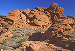 On the trail in the Valley of Fire State Park in Nevada one of the nicest parks near Las Vegas and Lake Mead featuring sandstone rocks and cliffs