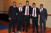 From left to right D.C. United forward Santos Maicon midfielder kurt Morsink defender Emiliano Dudar midfielder Marcelo Saragosa midfielder Andy Najar,at the United Kickoff luncheon, at the Marriott hotel in Washington DC, March 5, 2012.