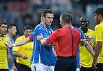 St Johnstone v Alashkert FC...09.07.15   UEFA Europa League Qualifier 2nd Leg<br /> Brad McKay argues with ref Fredy Fautrel<br /> Picture by Graeme Hart.<br /> Copyright Perthshire Picture Agency<br /> Tel: 01738 623350  Mobile: 07990 594431