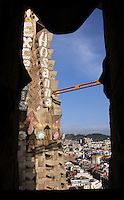 Hosanna and Excelsis ceramics on the bell towers, Passion façade, completed late 1980?s by the sculptor Josep Maria Subirachs, La Sagrada Familia, Barcelona, Catalonia, Spain, Roman Catholic basilica, built by Antoni Gaudí (Reus 1852 ? Barcelona 1926) from 1883 to his death. Still incomplete. Picture by Manuel Cohen