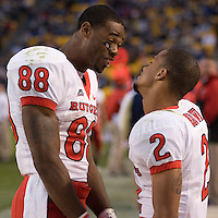October 25, 2008: Rutgers wide receivers Kenny Britt (88) and Tim Brown (2) celebrate the win. The Rutgers Scarlet Knights defeated the Pitt Panthers 54-34 on October 25, 2008 at Heinz Field, Pittsburgh, Pennsylvania.