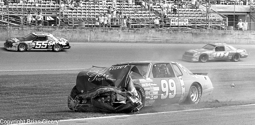 Brad Teague action crash accident Pepsi Firecracker 400 Daytona International Speedway Daytona Beach FL July 1987 (Photo by Brian Cleary/www.bcpix.com)