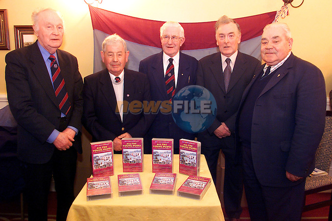 """Tom Munster, vice-president, Charlie Devitt, vice-president, Charkie Hurley, joint-president, Vincent Hoey, joint presidents and Jim Farrell, vice-presidents pictured at the launch of Drogheda United's """"All The Young Dudes"""" video in the Westcourt Hotel..Picture: Arthur Carron/Newsfile"""