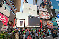 A giant illuminated video display in Times Square in New York promotes the new line of Google smartphones, the Pixel, seen on Friday, October 7, 2016.  (© Richard B. Levine)