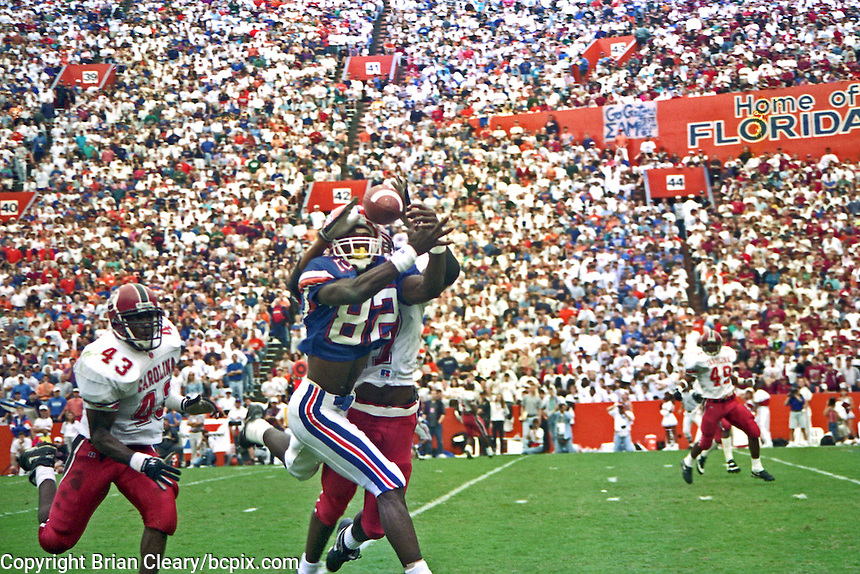 Aubrey Hill (82), Aubrey Brooks (43), University of Florida Gators defeat the University of South Carolina Gamecocks 48-17 at Ben Hill Griffin Stadium, Florida Field, Gainseville, Florida, November 12, 1994 . (Photo by Brian Cleary/www.bcpix.com)
