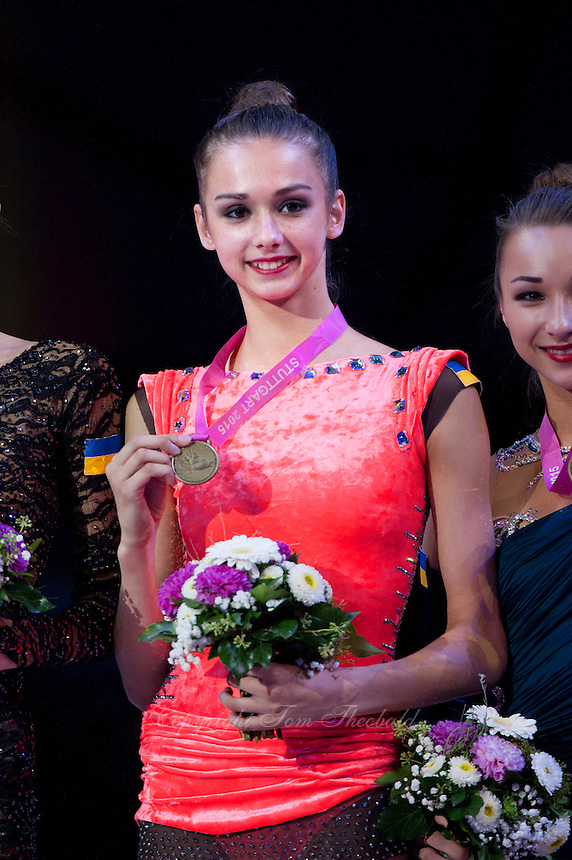 September 10, 2015 - Stuttgart, Germany - ELEONORA ROMANIA of Ukraine, portrait during AA team awards at 2015 World Championships.