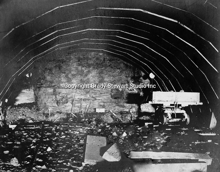 Hopedale OH:  View of the inside of the Spellacy Tunnel.  It took a camera exposure of 40 minutes to capture this image - 1903.  The Pittsburgh, Toledo and Western Railroad company, owned by the famous George J. Gould,  hired Brady Stewart to document the track and tunnel construction between Hopedale Ohio and downtown Pittsburgh.