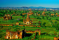 View of pagodas from the Tayokepyay Temple, Bagan (Pagan), Burma (Myanmar); Pagodas;