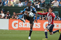 Khari Stephenson (7) controls the ball against Jorge Flores (19). Chivas USA defeated the San Jose Earthquakes 2-1 at Buck Shaw Stadium in Santa Clara, California on April 23rd, 2011.