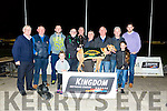 Jasons Fifi from Ballyduff winner of the KGSSC Members Stakes Final at the Kingdom Greyhound Stadium on Friday Christy Donovan, Dan Lynch, James O'Rourke, Murt Murphy, Noel Power, Denis Moriarty, Patsy O'Rourke, Chris Houlihan, Jeff Griffin front Teah O'Sullivan and Cassie O' Sullivan