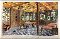BNPS.co.uk (01202 558833)<br /> Pic: HAldridge/BNPS<br /> <br /> Turkish bath and cooling room.<br /> <br /> Incredibly rare illustrations and photos of the opulent surroundings of the Titanic have come to light in two brochures which describe the doomed ship as 'practically unsinkable.'<br /> <br /> The colour drawings depict the plush accommodation and facilities that first and second class passengers enjoyed on the luxury liner.<br /> <br /> They offer rare glimpses of the promenade deck, reading room, swimming baths, smoking room, main staircase, the Turkish bath, state room and parlour suit accommodation, dining room and reception room.<br /> <br /> Alongside the images there is an equally scarce copy of the sailing schedule for the doomed ship, highlighting its 'lost' trans-Atlantic service.<br /> <br /> The itinerary shows the Titanic would have gone on to make four trips from Southampton to New York between April to July 1912 had it not sunk on its maiden voyage with the loss of 1,522 lives.<br /> <br /> The two brochures and sailing schedule have now been put up for sale 105 years after the tragedy. They have a pre-sale estimate of a combined &pound;20,000.