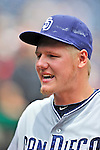 29 May 2011: San Diego Padres pitcher Mat Latos stands in the dugout during a game against the Washington Nationals at Nationals Park in Washington, District of Columbia. The Padres defeated the Nationals 5-4 to take the rubber match of their 3-game series. Mandatory Credit: Ed Wolfstein Photo