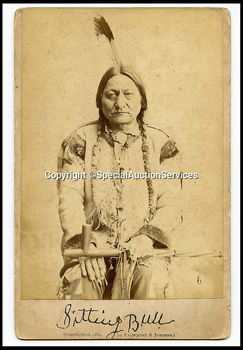 BNPS.co.uk (01202 558833)<br /> Pic: SpecialAuctionServices/BNPS<br /> <br /> *Please use full byline*<br /> <br /> Sitting Bull.<br /> <br /> Poignant insight into a lost world...<br /> <br /> An important collection of Native American Images - including a portrait of the famous Sitting Bull - will be offered in the Photographica sale on Thursday 23rd October and is expected to fetch over &pound;10,000.<br /> <br /> The photographs were collected by the vendor&rsquo;s great grandfather during his travels to America. He first journeyed to North America in 1862 to find out more about Native Indians and subsequently returned in 1866, 1874 and several times after that. The first three trips are described in a book that he wrote and published in 1890 entitled Sport and Adventures amongst the North American Indians.<br /> <br /> The collection comprises 127 images taken by pioneering photographers including American government photographer John Karl Hillers (1843- 1925) and explorer and painter William. H. Jackson. It contains portraits as well as scenes of family and working life that provide a real insight into everyday living in the 1870s &ndash; 1880s. Estimates for the group lots range from &pound;100 to &pound;5,000.<br /> <br /> The photographs were taken using the latest technology of the time; the invention of dry-plate made it possible for photographers to go into the wilds of native USA and document everyday life; and the use of traditional stereoscopic photography means the subjects in the portrait shots appear 3-Dimensional. <br /> <br /> Hugo Marsh, Head of Photographica says: &ldquo;This collection of photographs provides us with a greater understanding and a terrific insight into the lives of Native American Indians of the time. It is rare to see a large collection in such good condition.&rdquo;