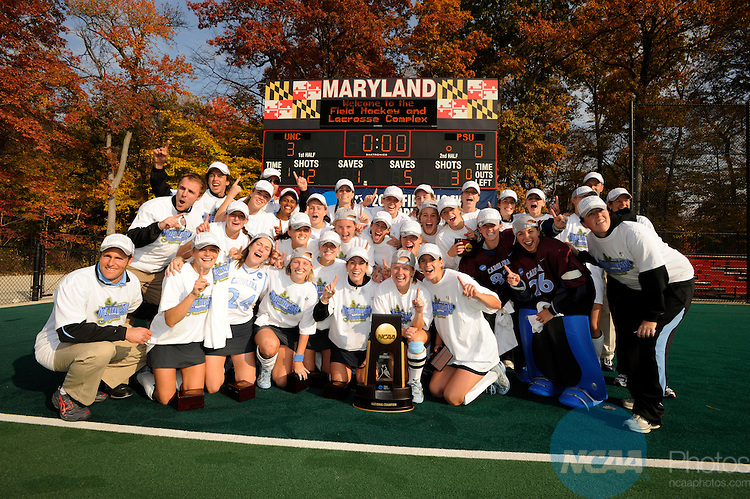 18 NOV 2007: University of North Carolina celebrates their win following the Division I Women's Field Hockey championship on the campus of the University of Maryland in College Park, MD. North Carolina defeated Penn State 3-0 to win the national title. ©Brett Wilhelm/NCAA Photos