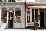 Gallery Lemoine and Cafe on Rue Saint-Louis en L'ile, Ile Saint Louis, Paris, France