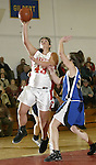 LITCHFIELD, CT, 01/03/08- 010308BZ13- Wamogo's Kim Layman (43) goes to the hoop against Shepaug's Brittany Myers (35)  during their game at Wamogo High School in Litchfield Thursday night.<br /> Jamison C. Bazinet Republican-American