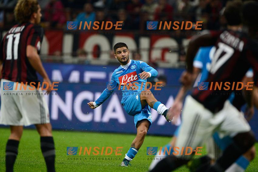 Gol di Lorenzo Insigne Napoli 0-3. Celebration goal<br /> Milano 4-10-2015 Stadio Giuseppe Meazza - Football Calcio Serie A Milan - Napoli. Foto Giuseppe Celeste / Insidefoto