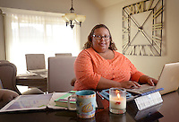 NWA Democrat-Gazette/BEN GOFF @NWABENGOFF<br /> Ramona Collins poses for a photo on Friday Oct. 16, 2015 in her favorite personal space, at the marble island in the kitchen of her Bentonville home.