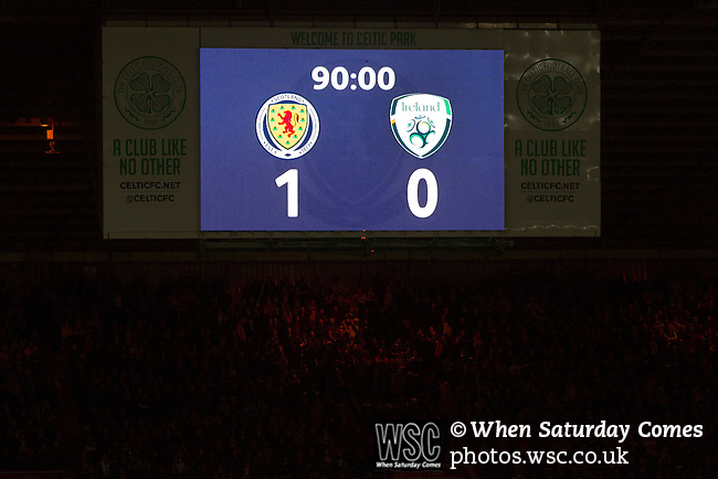 Scotland 1 Republic of Ireland 0, 14/11/2014. Celtic Park, European Championship qualifying. The electronic scoreboard showing the score in the final minute of the second-half of the European Championship qualifying match between Scotland and the Republic of Ireland at Celtic Park, Glasgow. Scotland won the match by one goal to nil, scored by Shaun Maloney 16 minutes from time. The match was watched by 55,000 at Celtic Park, the venue chosen to host the match due to Hampden Park's unavailability following the 2014 Commonwealth Games. Photo by Colin McPherson.