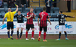 Dundee v St Johnstone....08.11.14   SPFL<br /> Referee Bobby Madden books David Clarkson for diving<br /> Picture by Graeme Hart.<br /> Copyright Perthshire Picture Agency<br /> Tel: 01738 623350  Mobile: 07990 594431