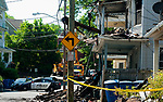 WATERBURY,  CT-051817JS07- A portion of Lounsbury Street  in Waterbury was closed on Thursday as investigators to assess the damage the day after a fire destroyed four homes on Wednesday night. <br /> Jim Shannon Republican-American