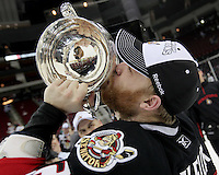 Binghamton Senators captain Ryan Keller kisses the Calder Cup after game six of the AHL Calder Cup Finals, Tuesday, June 7, 2011, in Houston. Binghamton won 3-2 to win the championship. (Darren Abate/pressphotointl.com/AHL)