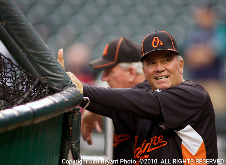 Baltimore Orioles manager Dave Trembley watches batting practice before their game against the Seattle Mariners' at SAFECO Field in Seattle April 19, 2010. The  Mariners beat the Orioles 8-2. Jim Bryant Photo. &copy;2010. ALL RIGHTS RESERVED.