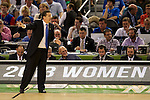 31 MAR 2012:  Coach John Calipari of the University of Kentucky shouts to his players against the University of Kansas in the championship game of the 2012 NCAA Men's Division I Basketball Championship Final Four held at the Mercedes-Benz Superdome hosted by Tulane University in New Orleans, LA. Kentucky defeated Kansas 67-59 to win the national title. Brett Wilhelm/NCAA Photos