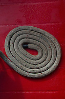 Coiled Rope on Deck of SV Maple Leaf, Gulf Islands, British Columbia, Canada