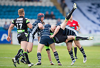 Picture by Allan McKenzie/SWpix.com - 11/05/2017 - Rugby League - Ladbrokes Challenge Cup - Featherstone Rovers v Halifax RLFC - The LD Nutrition Stadium, Featherstone, England  - Halifax's James Saltonstall is upended by Featherstone's John Davies.