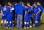 The 2012 UK men's soccer team huddles up for the last time and console each other after the 1-0 loss to Xavier University Thursday night.