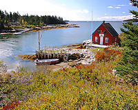 USA, Maine, Man made stone dock at Stonington