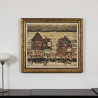 "Schiele: ""Two Blocks Of Houses With Cloth Lines"", Digital Print, Image Dims. 25.5"" x 30"", Framed Dims. 32.5"" x 37"""