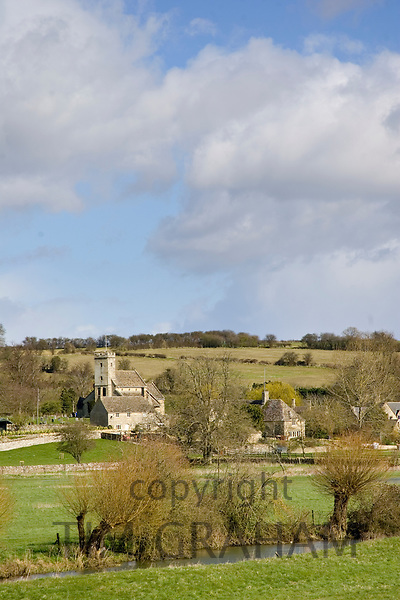 Swinbrook village and church in The Cotswolds, Oxfordshire, England, United Kingdom