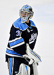 2 December 2011: University of Maine Black Bear goaltender Josh Seeley, a Senior from Howland, Maine, glances over his shoulder after a game against the University of Vermont Catamounts at Gutterson Fieldhouse in Burlington, Vermont. The Catamounts fell to the Black Bears 6-4 in the first game of their 2-game Hockey East weekend series. Mandatory Credit: Ed Wolfstein Photo