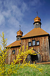 Ancient wooden church house under blue sky. Pirogovo, Ukraine, Eastern Europe springtime countryside scenic.