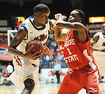 "Mississippi's Terrance Henry (1), left, is fouled by Illinois State's Tyler Brown (1) in a National Invitational Tournament game at the C.M. ""Tad"" Smith Coliseum in Oxford, Miss. on Wednesday, March 14, 2012. (AP Photo/Oxford Eagle, Bruce Newman)"