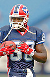 25 September 2005: Eric Moulds, Wide Receiver for the Buffalo Bills, takes part in some warm-up drills prior to a game against the Atlanta Falcons. The Falcons defeated the Bills 24-16 at Ralph Wilson Stadium in Orchard Park, NY.<br /><br />Mandatory Photo Credit: Ed Wolfstein.