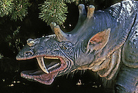 "Pre-historic Animals: ""Sabertooth Rhino""--Eobasileus. Those canines: 15 inches long. Ht., 6 ft.; 3-4 tons. Diet: plants."