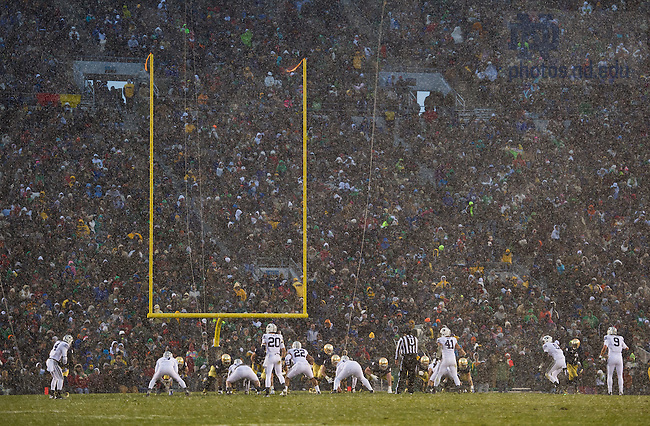 Nov. 23, 2013; Snow falls on Notre Dame Stadium during the BYU game.<br /> <br /> Photo by Matt Cashore