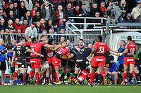 Tempers flare between both sides. European Rugby Champions Cup match, between RC Toulon and Bath Rugby on January 10, 2016 at the Stade Mayol in Toulon, France. Photo by: Patrick Khachfe / Onside Images