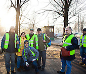 Warsaw, Poland, November 2011:.Employees of Ekon Association, collecting recyclable materials at the Ursynow housing estate. .Ekon Association in Warsaw is a recycling plant that provides jobs for people with learning difficulties or mental health issues; who would otherwise find it difficult to get work. .(Photo by Piotr Malecki / Napo Images)..Warszawa, Listopad 2011:.Pracownicy stowarzyszenia Ekon, zbieraja surowce wtorne od mieszkancow osiedla Ursynow. Ekon zajmuje sie recyklingiem odpadow i zatrudnia ludzi uposledzonych, lub chorych psychicznie, ktorzy inaczej mieliby trudnosci ze znalezieniem pracy..Fot: Piotr Malecki / Napo Images.