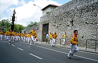 Gubbio 15 MAY 2006..Festival of the Ceri..The ceraioli of St Ubaldo and the Cero....http://www.ceri.it/ceri_eng/index.htm..