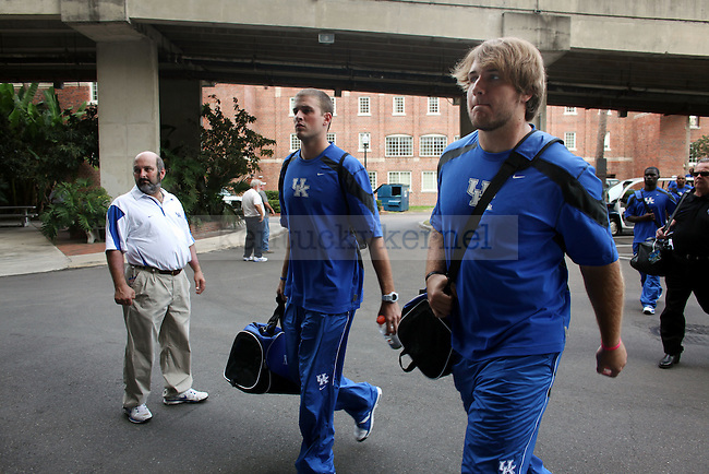 """Quarterback Mike Hartline walks to the locker room before the UK vs Florida football game at the """"Swamp"""" on Saturday, Sept. 25, 2010 Photo by Britney McIntosh 