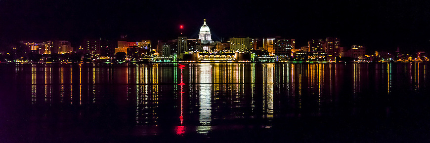 Madison Wisconsin Skyline as seen from Lake Monona