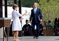 Former U.S President George W. Bush and former First Lady Laura Bush attend the opening ceremony of the Smithsonian National Museum of African American History and Culture on September 24, 2016 in Washington, DC. The museum is opening thirteen years after Congress and President George W. Bush authorized its construction. <br /> Credit: Olivier Douliery / Pool via CNP / MediaPunch