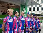 Team Pezula at the Tour of Ireland Stage 1, Grand Canal Square, Dublin 2. ..L-R, Alex Wetterhall(Sweden), Ciaran Power (Ireland), Fredrik Ericsson (Sweden), Cameron Jennings (Australia), Martyn Irvine (Ireland), David O'Loughlin (Ireland) and Kieran Page (UK).