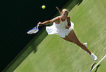 All England Tennis Championships, Wimbledon, Maria Sharapova (RUS) serving durning her match against N. Llagostera Vives (ESP)
