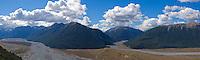 Panoramic of Waimakariri river valley an mountains of Arthur's Pass national park, New Zealand